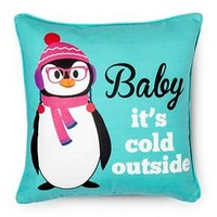 "Snowy Night Penguin Pillow - Multi-Colored (14""x... : Target"