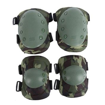 DCCK7N3 Tactical Military 2pcs Elbow Brace + 2pcs Knee Protective Pads Paintball Skate Airsoft Combat Elbow Support Guard Support