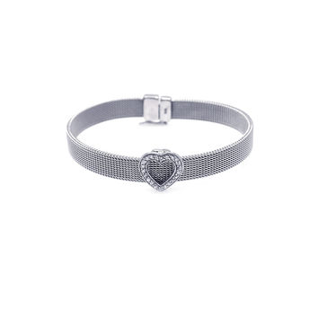 .925 Sterling Silver Rhodium Plated Heart Clear Cubic Zirconia Mesh Bracelet