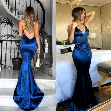 Royal Blue Long Backless Evening Dress 2018 Simple Floor Length Satin Prom Gowns Vestido De Festa Cheap Wedding Party Dresses