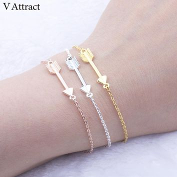 V Attract 2018 Unique One Direction Arrow Charm Bracelets For Women Men Jewelry Friendship Gift Vintage Rose Gold Erkek Bileklik