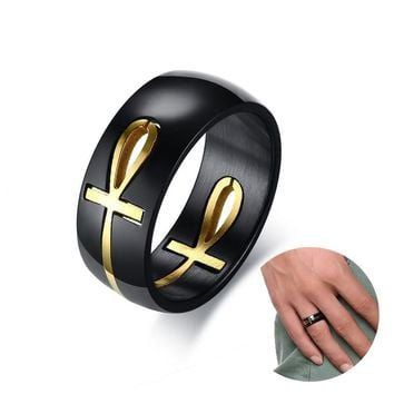 Ankh Egyptian Cross Ring for Men Stainless Steel Two Tone Detachable Wedding Band Egypt Male Jewelry Anel Aneis Anillos
