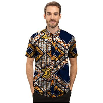 Custom African Shirts Mens short Sleeve Men African Print Single row button lapel Tops Dashiki Clothes Personal