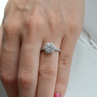 6mm Brilliant Cut Engagement Ring - Hexagon Halo Engagement Ring - Sterling Silver Promise Ring