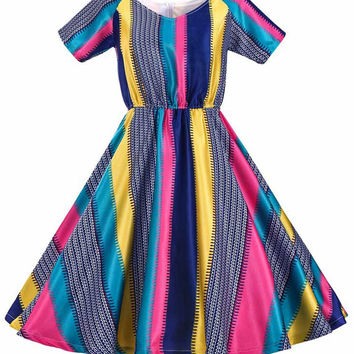 Audrey Hepburn Vintage Dress V-neck Colored Striped Pattern Short Sleeve Midi Swing Inspired Dress