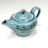 Little teal teapot,Pottery teapot,ceramic teapot,Pot for tea,turquoise teapot, Canadian pottery,pottery dinnerware,Teal tea maker,clay pot