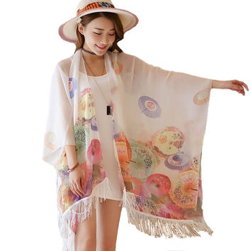 Women Lightweight Poncho Pashmina Scarf Umbrella Prints Chiffon Beach Swimwear Tunic Shirt Kimono Kaftan Bikini Cover Up