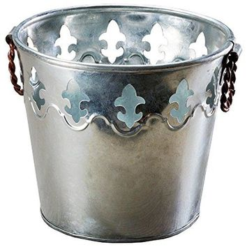 Galvanized Tin Metal Ice Bucket for Party Drinks or Planter Pail with Twisted Metal Handles Fleur De Lis Ribbed Design