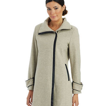 Calvin Klein Asymmetric Zip Front Dress Coat