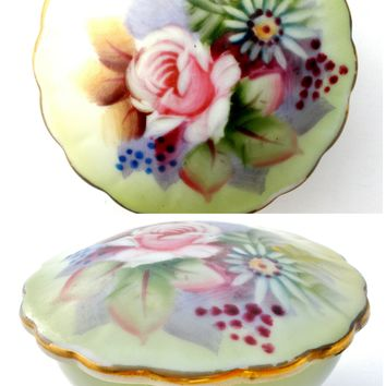 Lefton Hand Painted Porcelain China Trinket Box