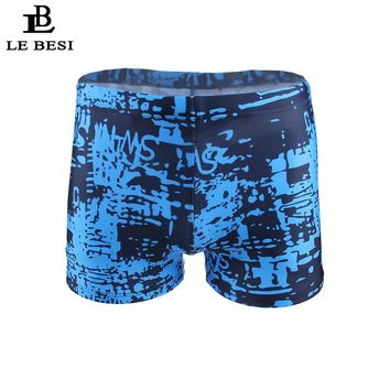 2017 LEBESI Men Swimsuits Blue Camouflage Swimming Trunks Boxer Men's Swimwear Swim Trunks Sportswear Beachwear Surfing Shorts