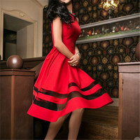 2016 New Womens Summer Maxi Party Dress Sexy Vintage Mesh Patchwork Prom Long Dresses Red&black&green Ukraine Dress