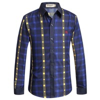 BURBERRY  Men's Casual Stripes Plaid Long Sleeved Shirt G-A00FS-GJ