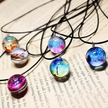 MDIGHY9 2016 Hot Fashion Crystal Glass Ball Galaxy Necklace Long Strip Leather Chain Galaxy Ball Pendant Necklaces Women  Jewelry D060