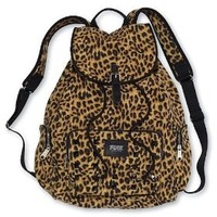 Victoria's Secret PINK Backpack Leopard Cheetah Canvas School Handbag Book Bag Tote