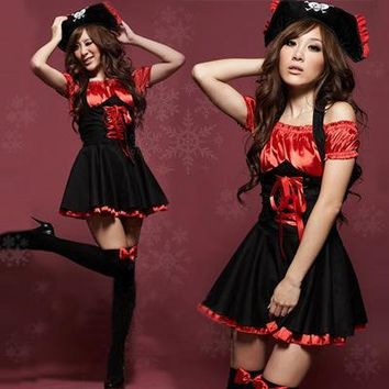 Sexy Pirates Cosplay Dress Jazz Dance Clothes Uniform Temptation Halloween Costumes For Women H9