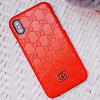 GUCCI simple solid color iPhone 6 case 6S luxury 6plus or iPhone7 tide brand i8X Big red