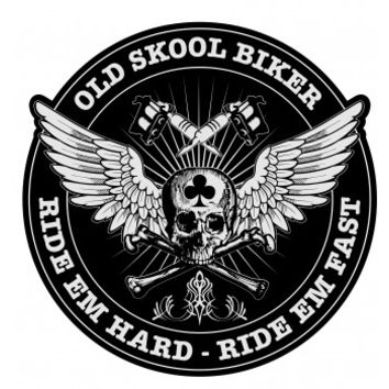 Old Skool Biker Ride Em Hard Fast Patch Large