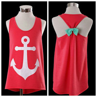 Ready to Ship Preppy Anchor Tank with Mint Bow