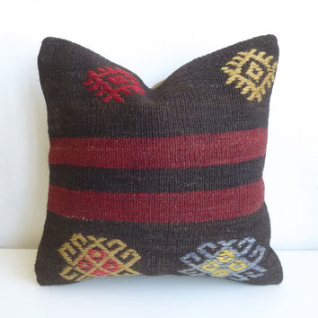 Burgundy and dark Brown Kilim Pillow Cover with Stripes