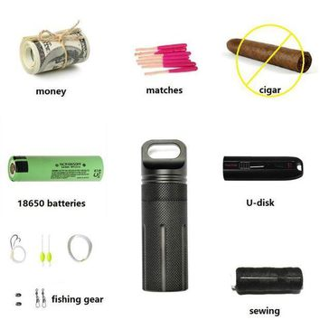 ICIK7N3 OneTigris Capsule Sealed Bottle Waterproof Pill Case EDC Container for 18650 Batteries Fishing Camping Hiking Emergency Kit
