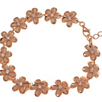 STERLING SILVER 925 HAWAIIAN PLUMERIA PINK ROSE GOLD PLATED BRACELET CZ 12MM 7.5