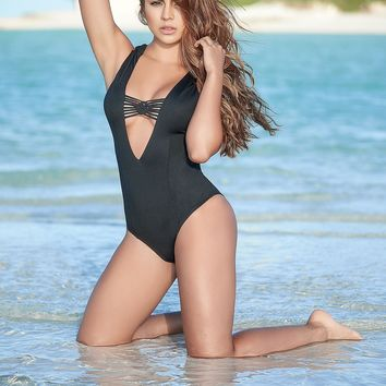 Black Plunging One Piece Swimsuit-Resort Wear