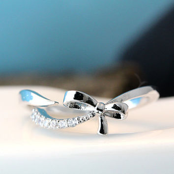 Open Ribbon Bow Ring Crystal tail Womens Jewelry Adjustable Free Size Gold Silver gift idea