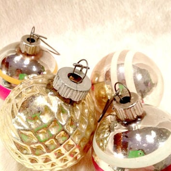 Four Shiny Brite Christmas Ornaments in Pink and Gold