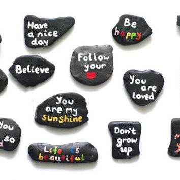 Stone art Hand painted rocks with words Rocks Story stones paint rock art Painted stones Rock painted Word stones Home decor Unique gift