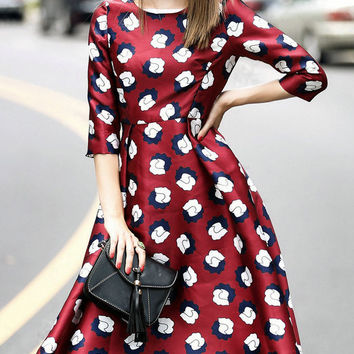 Red Printed Half Sleeve High Waist Mini Skater Dress