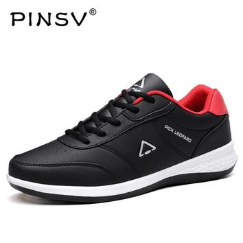 PINSV PU Leather Shoes Men Sneakers Mens Shoes Casual Loafers Black Autumn Shoes Men Sapato Masculino Chaussures Homme