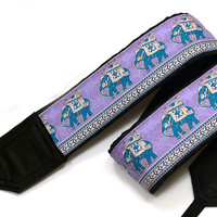 Lucky Elephants Camera Strap. Ethnic Camera Strap, Blue Camera Strap