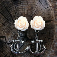 Cream Resin Rose Cabochon and Anchor Earrings
