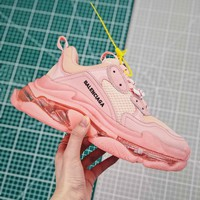 Balenciaga Triple S Clear Sole Trainers Pink Sneakers - Best Online Sale