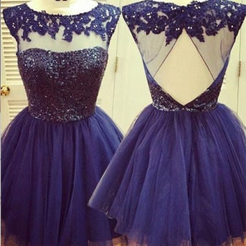 Open back Blue Homecoming Dress, Junior Lace Homecoming Dress