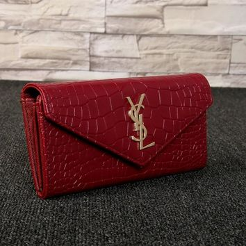 """Yves Saint Laurent YSL"" Women Simple Fashion Crocodile Pattern Long Section Double Layer Purse Button Flip Wallet Handbag"