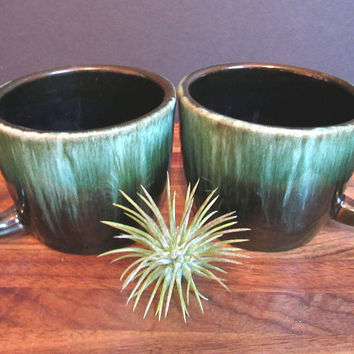 2 Vintage Blue Mountain Pottery Mugs, Handmade Canadian Ceramic Cups, Coffee Mugs, Coffee Cup Set, Green Drip Glaze
