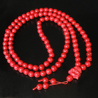 Tibet Red Turquoise Stone 10mm 108 Beads Red Happy Buddha Beaded Buddhism Prayer Mala Necklace