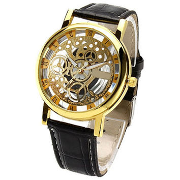 New Hot Men's Women's Roman Numerals Faux Leather Band Skeleton Analog Sports Dress Wrist Watch