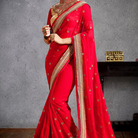 Ravishing Red Patch Border Work Saree