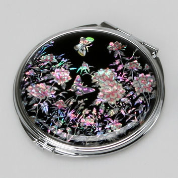 Mother of Pearl Peony Flower 2x Magnification Double Compact Cosmetic Makeup Portable Folding Mini Purse Beauty Pocket Mirror
