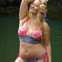 PUNA Adjustable Bow Plus Size Cheeky Bikini Bottoms - create your own