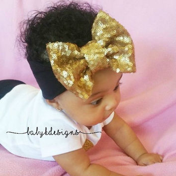Baby Girl Messy Sequin Sparkle Big Bow Headband | Top Knot Bow Wide Headbands | Gold or Red Glitter Bow Head Wrap | Turban| Floppy Bows |