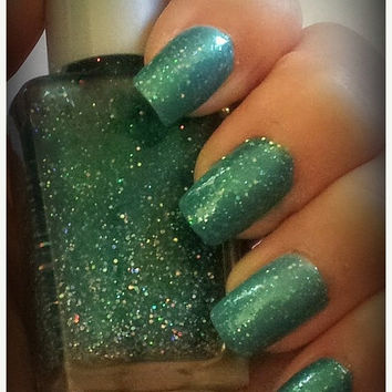 25% off Christmas Sale Christmas Tree Green Glitter ARIA Glitter Nail Polish Indie Nail Polish Handmade Lacquer Custom