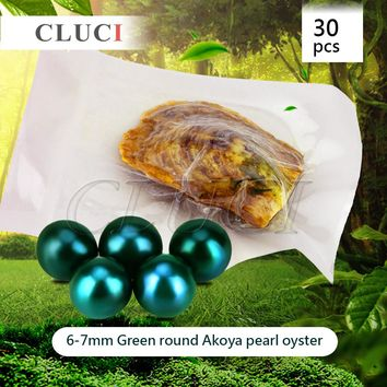 CLUCI Green Color Pearl Oysters akoya skittle pearls Wholesale Hot Colorful Round Beads For Jewelry Making 30pcs 6-7mm