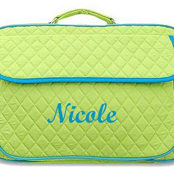 Monogrammed Laptop Case  Lime with Turquoise Trim Personalized Laptop Case  Embroidery Monogram Laptop Bag