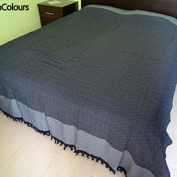 Gray and black colour soft Turkish cotton double bed cover, double blanket, bed spread, sofa cover, flat sheet.