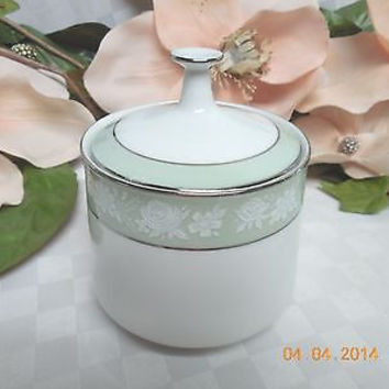 Noritake Japan Vienne Patt # 6885  White China W/Green Band Covered sugar bowl