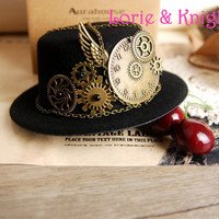 Steampunk Gear & Clock Chain Mini Top Hat